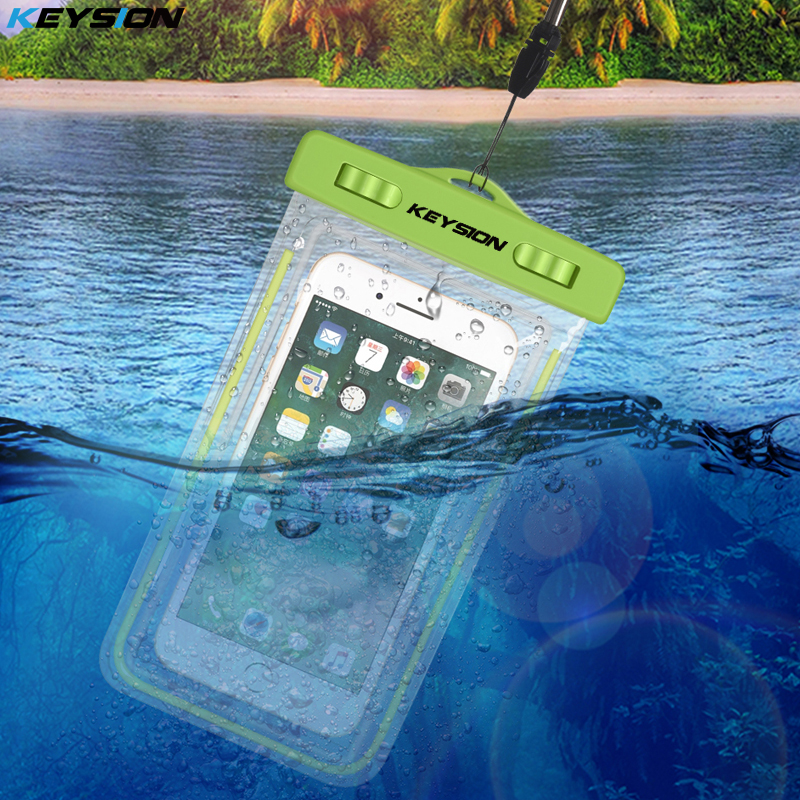 KEYSION Sacchetto Impermeabile Con Luminoso Subacqueo Del Sacchetto Cassa Del Telefono Per il iphone X 8 8 Più 7 7 P 6 6 s Per Samsung Galaxy S8 S7 nota8