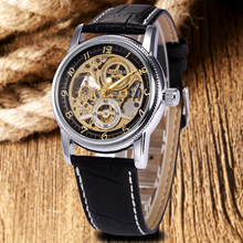Brown/Black Luxury Genuine Leather Strap Skeleton Sport Analog Men Women Mechanical Automatic Wrist Watch relogio masculino