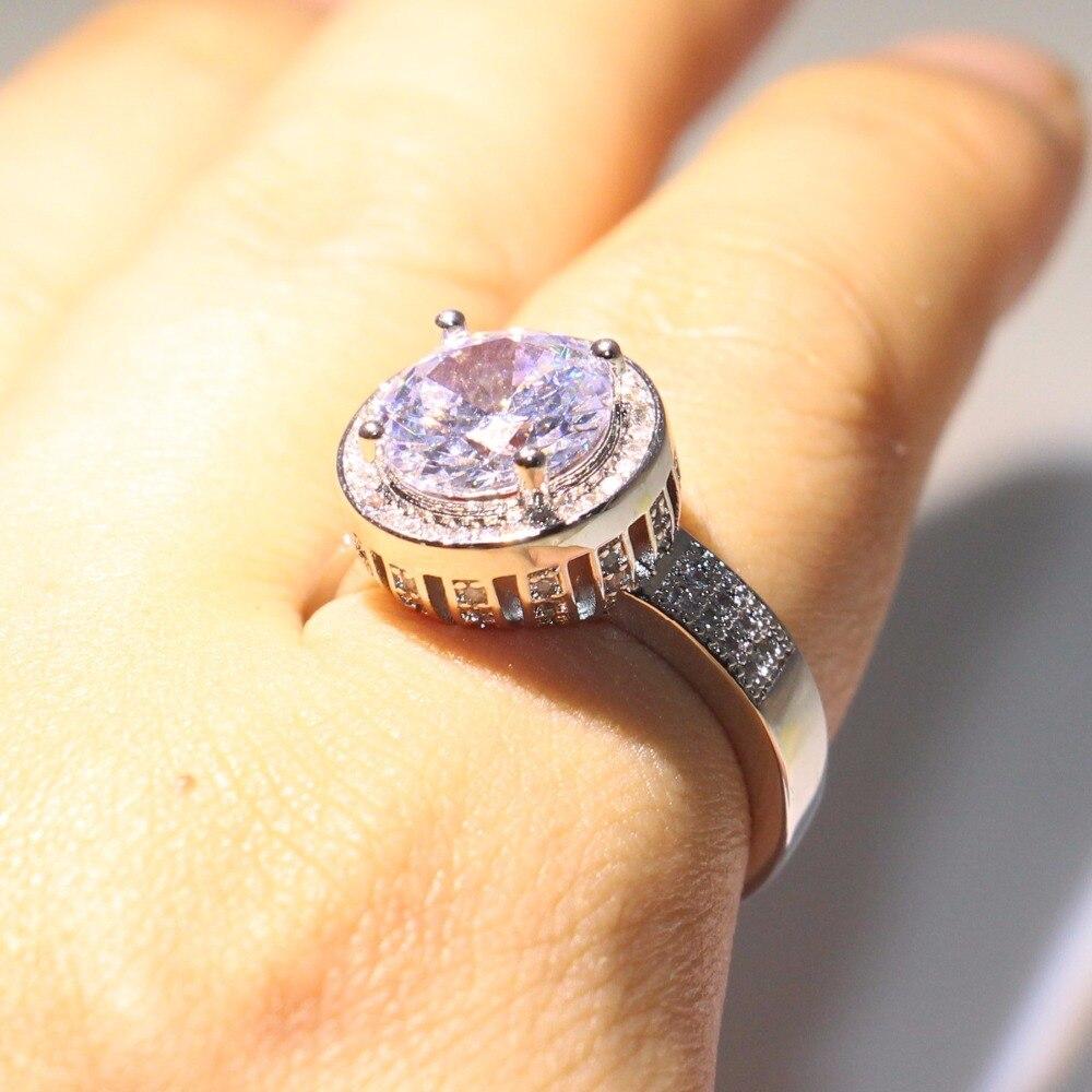 Anneau de mariage couronne éblouissante anneau rond 5A zircon cubique Pave CZ 925 argent Sterling promesse bijoux bague pour les femmes - 5