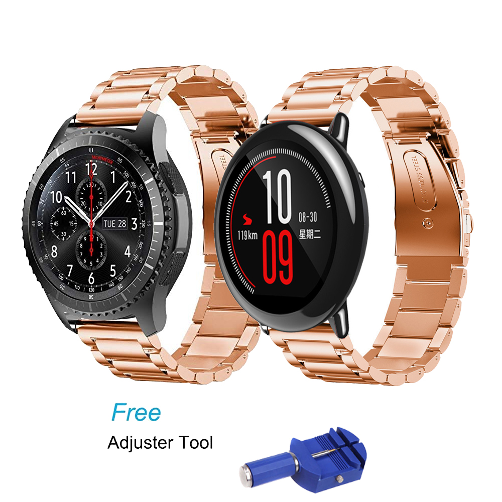 22mm Stainless Steel Band for Samsung Gear S3 Class/Frontier strap metal bracelet for Xiaomi Huami Amazfit Pace/Stratos 2/1 belt amazfit leather bracelet watch band 22mm for xiaomi huami amazfit pace stratos 2 correa wrist strap for samsung gear frontier s3