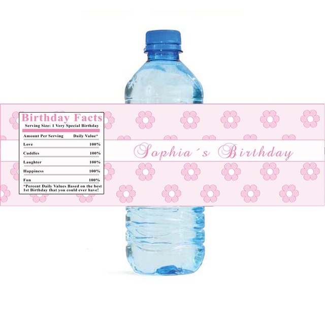 Us 29 8 Personalized Water Bottle Labels Baby Shower Decorations Tags Disney Princess Birthday Baby Lucky Flower Candy Stickers In Party Diy