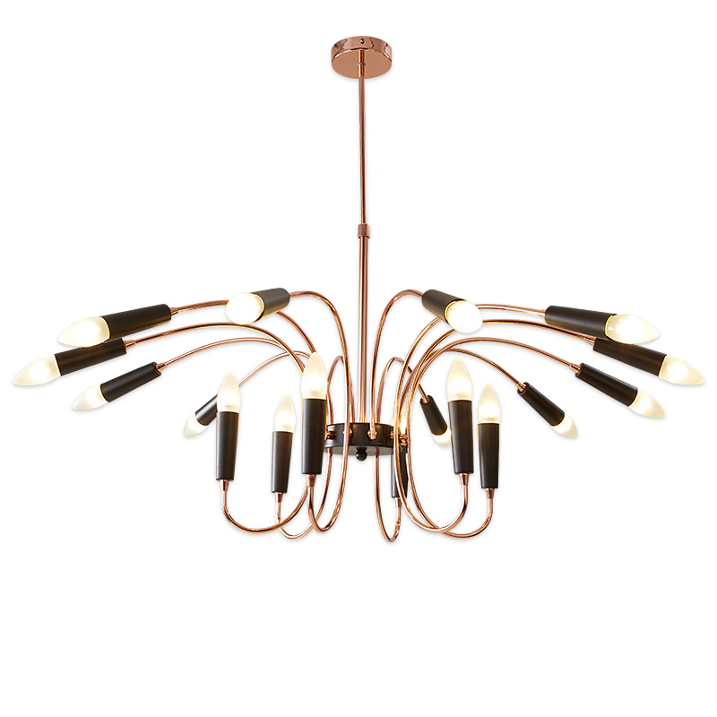 24 Head Modern Chandelier Lamp Hanging Light Suspension Lamp black white gold body Livin ...