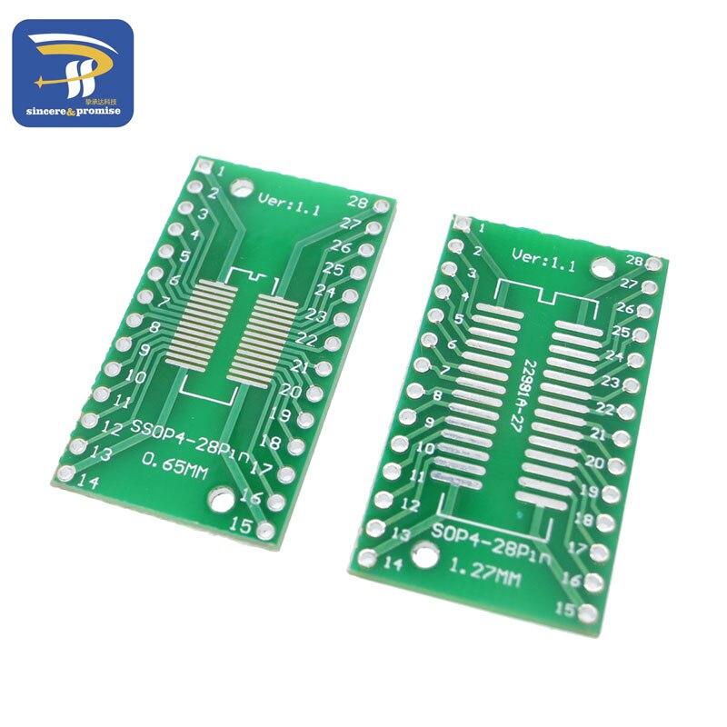 20pcs SO//SOP//SOIC//SSOP//TSSOP//MSOP 28 to DIP Adapter PCB Board Converter Arduino