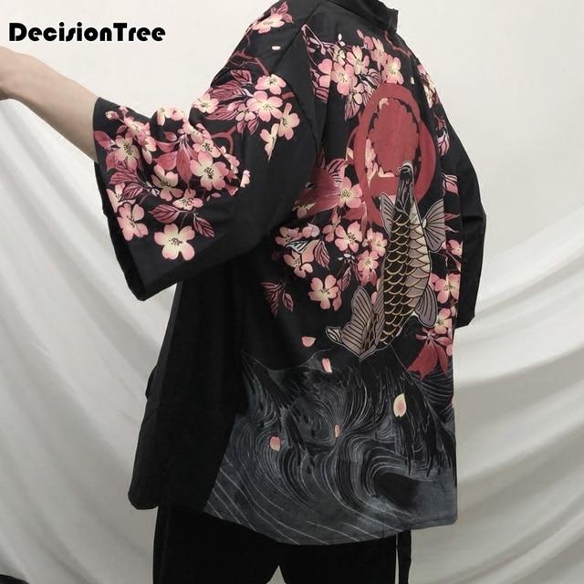 2019 summer men loose cardigan japanese kimono stripe coat high street hip hop casual outerwear embroidery dragon and koi kimono