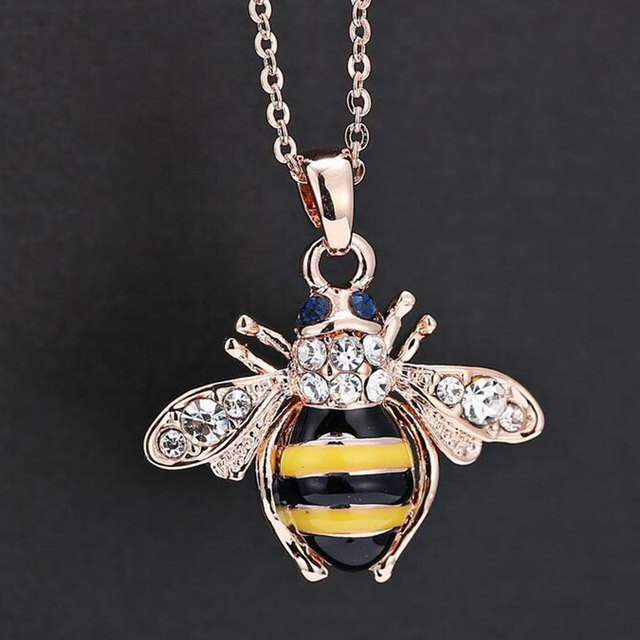 40cm Drill Bee Necklace Origami Gold Chain Honey Pendant Bug Pendants