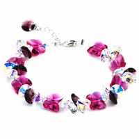 Crystal Bracelets Exquisite Elegant Women Pink Rose Color Butterfly Charm Bracelets Sweet Jewelry Gifts For Girl Friend Daughter