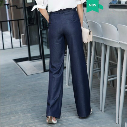Pantalones Casual Azul Niñas Ancha Cintura Delgado Marca Cordón Femenino Nuevo 79149 Mujeres Tamaño 2018 Alta Pierna Ropa Más Loose Verano qa14nwHS