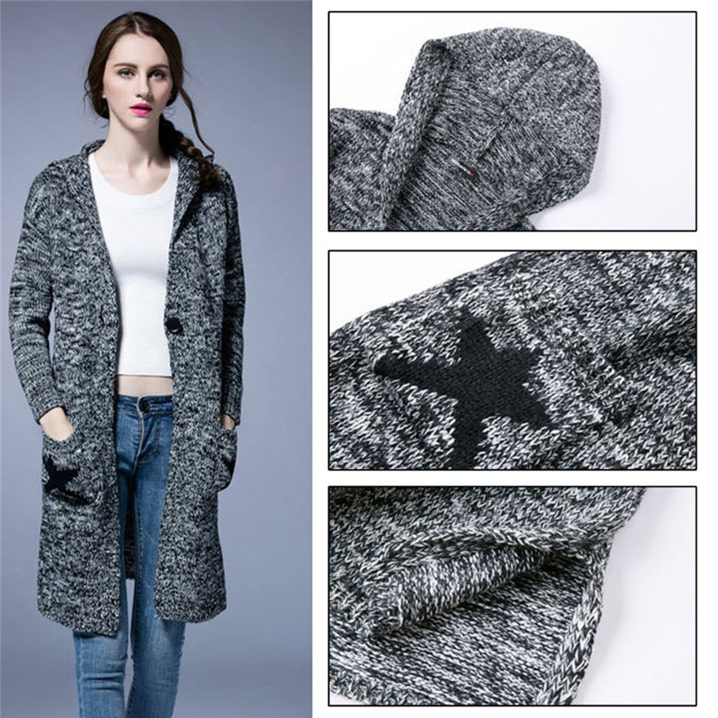 New Ladies  Long Sleeves Star Print Knitted Cardigan  Plus Size