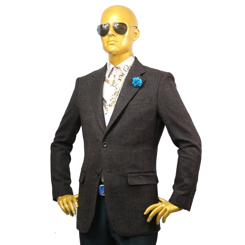 Custom Tailor Made Men's Bespoke Suits Business Formal Wedding Ware 2 Pieces Jacket Coat Pant Dark Coffee Plaid Wool Winter