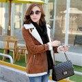 Зима женщины замши куртки с длинным конструктор кожаная куртка женщины барашек пальто теплый отложным воротником старинные пальто Большой размер S-XL