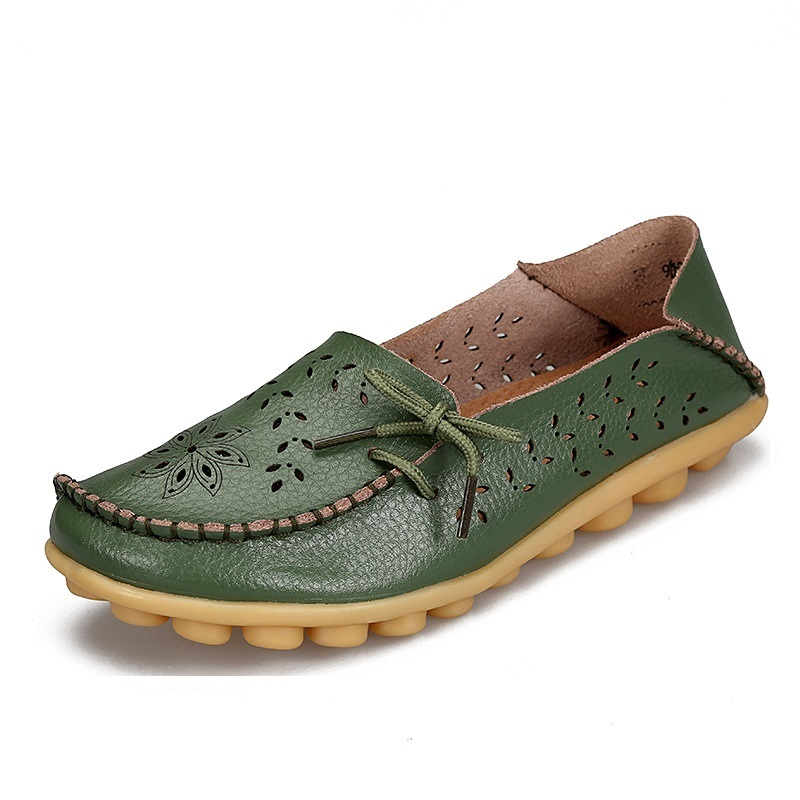 Discounts Fashion Women flats Genuine Leather Casual Loafers Women Shoes Summer Autumn Shoes Flats with Hollow Out Ballet Flats