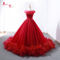 Jark Tozr Custom Made Cap Sleeve Lace Up Flowers Skirt Appliques Beading Red Princess Ball Gown Wedding Dresses Plus Size 2018