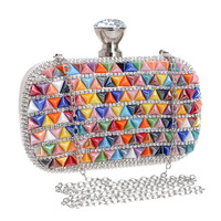 Colorful Ceramics Bohemian Style Crystal Evening Bags Metal Colorful Metal Rhinestones Party Small Day Clutches Purse