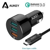 AUKEY תשלום מהיר 3.0 USB 3 יציאות מטען לרכב עם משלוח סוג C כבל מיני מטען לxiaomi 4x iPhone Samsung galaxy s8