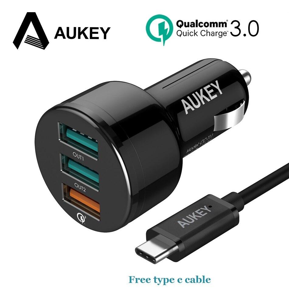 imágenes para AUKEY 3 Puertos 3.0 USB Cargador de Coche de Carga Rápida con el envío tipo C Mini cable de 4x Coche-Cargador para Xiaomi iPhone Samsung galaxy s8