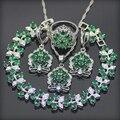Emerlad verde Blanco Creado Topaz 925 Plata de La Joyería Para Las Mujeres Pendientes/Colgante/Collar/Anillos/pulsera de Caja Libre