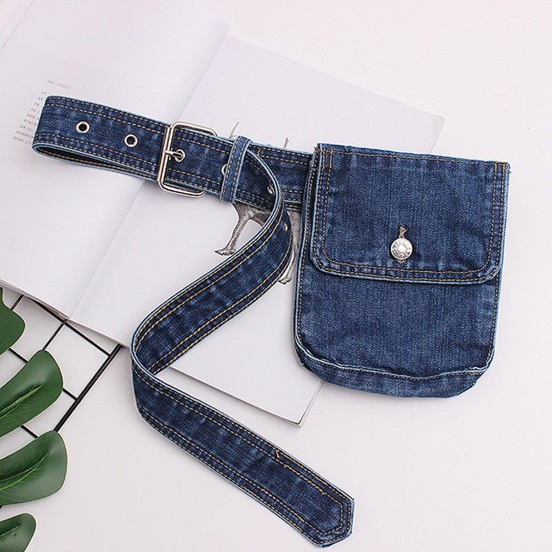 Annmouler Fashion Women Fanny Pack Adjustable Waist Bag Blue Jeans Fanny Bag Small Phone Pouch High Quality Belt Bag Hip Bag