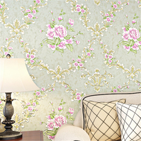 Beibehang Papel De Parede Wallpaper For Walls 3 D Bedroom Pink Purple Wallpaper Flowers Living Room