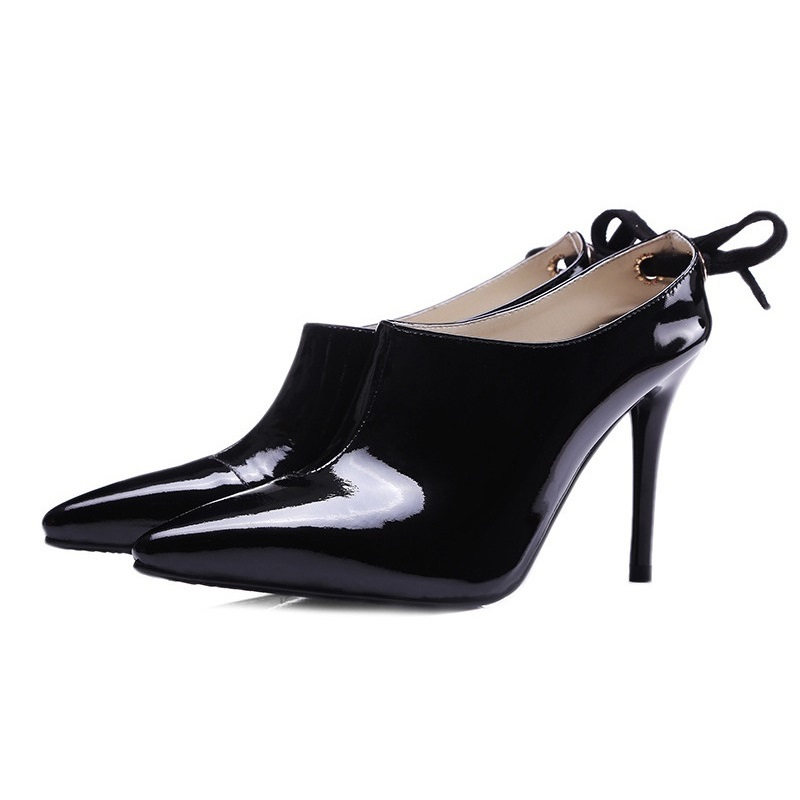 ФОТО 2017 Fashion Black Genuine Leather Patent Leather Sexy Thin High Heels Women Pumps Ladies Shoes Woman Chaussure Femme Talon