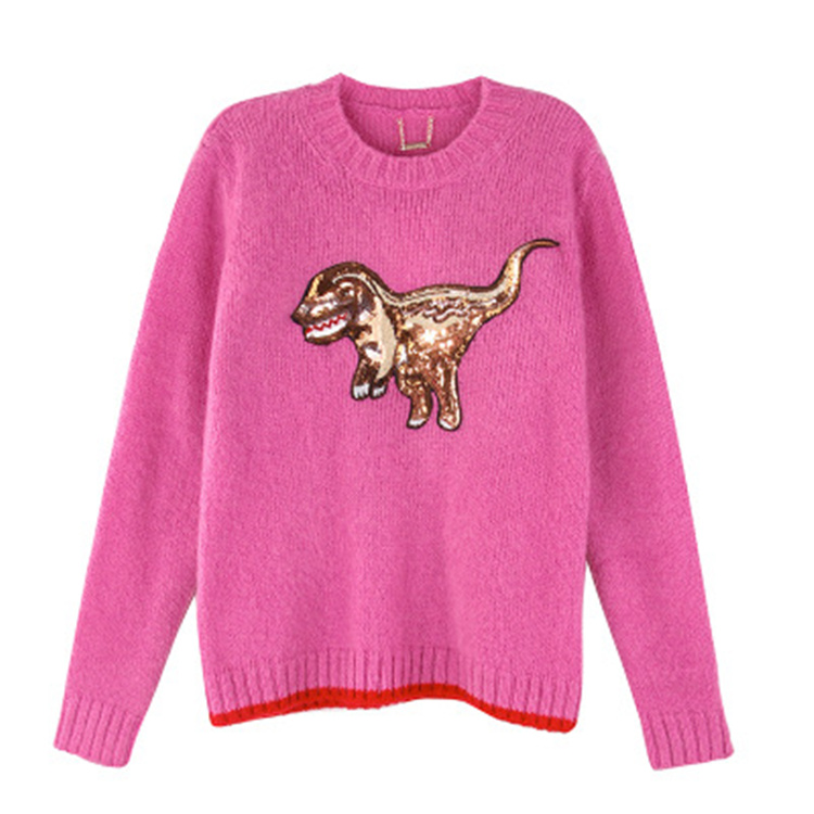 spot 2017 flash sequined beaded cartoon cute little dinosaur pullover sweater female autumn winter pink knit blouse tide