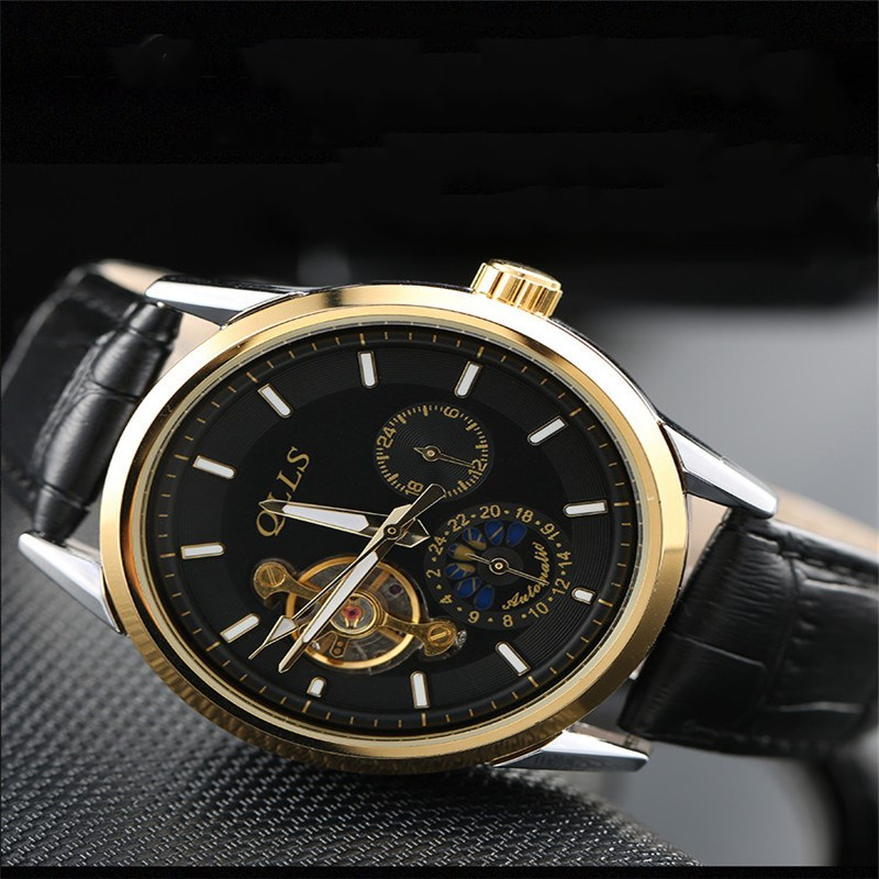 QLLS Skeleton Watch Men Automatic Waterproof Top Brand Mens Mechanical Watches Steel Calendar Gold Relogio Masculino horloges mannen qlls mens watches top brand luxury automatic mechanical watch men clock skeleton wristwatch relogio masculino