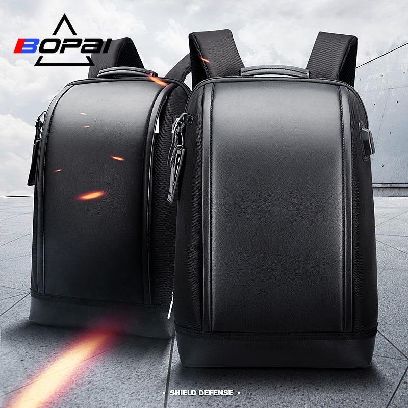 BOPAI в виде ракушки бизнес для мужчин офис работы рюкзак USB зарядка Прохладный Мужской кожаный рюкзак для мужчин's сумки на плечо для работы