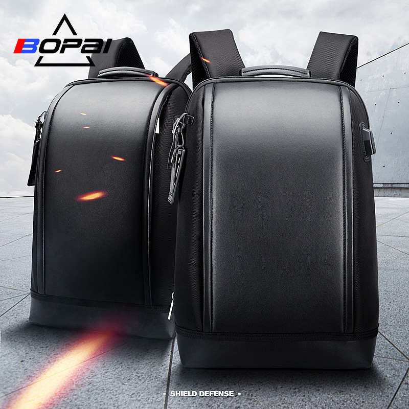 BOPAI Shell forme affaires hommes bureau travail sac à dos USB Charge Cool mâle en cuir sac à dos sac à dos hommes sacs à bandoulière pour le travail