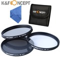 K&F Concept 62mm Lens Filter Kit UV CPL Circular Polarizing ND4 + Filter Case + Cleaning Cloth For Canon Nikon Sigma 62mm Lens