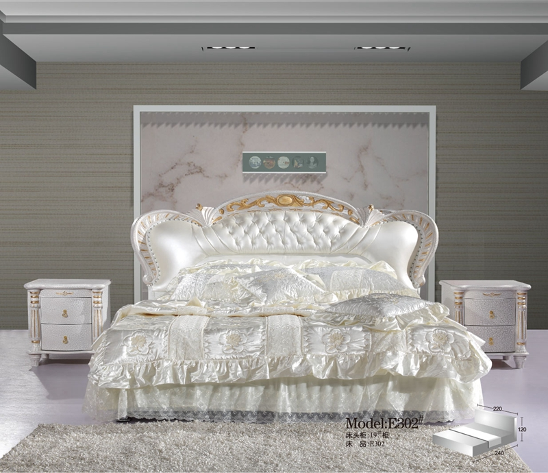 French Contemporary Modern Leather Sleeping Bed King Size Bedroom Furniture Made In China In