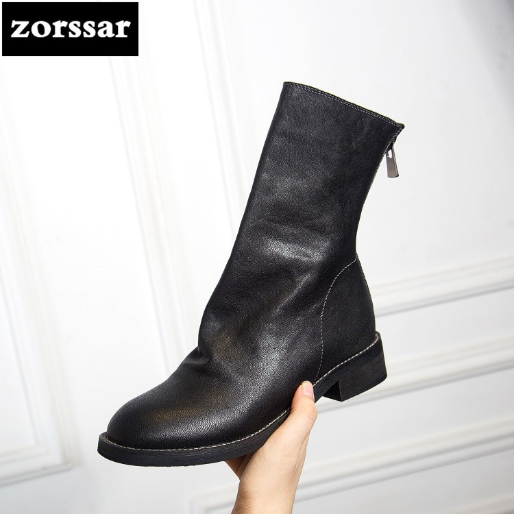 {Zorssar} 2018 Genuine Leather High heel ankle boots Women riding boots winter shoes zapatos mujer botas invierno Big Size 43 new 2016 fashion women winter shoes big size 33 47 solid pu leather lace up high heel ankle boots zapatos mujer mle f15