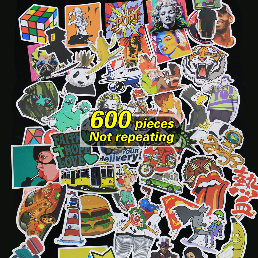 600 pieces waterproof stickers Not repeating for fridge Wall decor skateboard motorcycle Bike refrigerator laptop car
