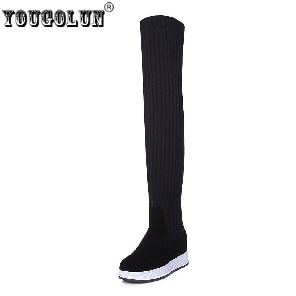 YOUGOLUN women suede genuine leather over the knee boots woman winter autumn thigh high stretch wool socks boots women shoes цены онлайн