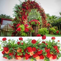 4M x 35cm hot red artificial flower strip Aisle Flowers Road Leads flower Stage Wedding Decoration