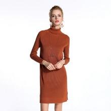 Высокие эластичные женские пуловеры вязаные платья разрез на подоле модные Универсальные Длинные рукава чистый цвет женщина Длинный свитер HM1025