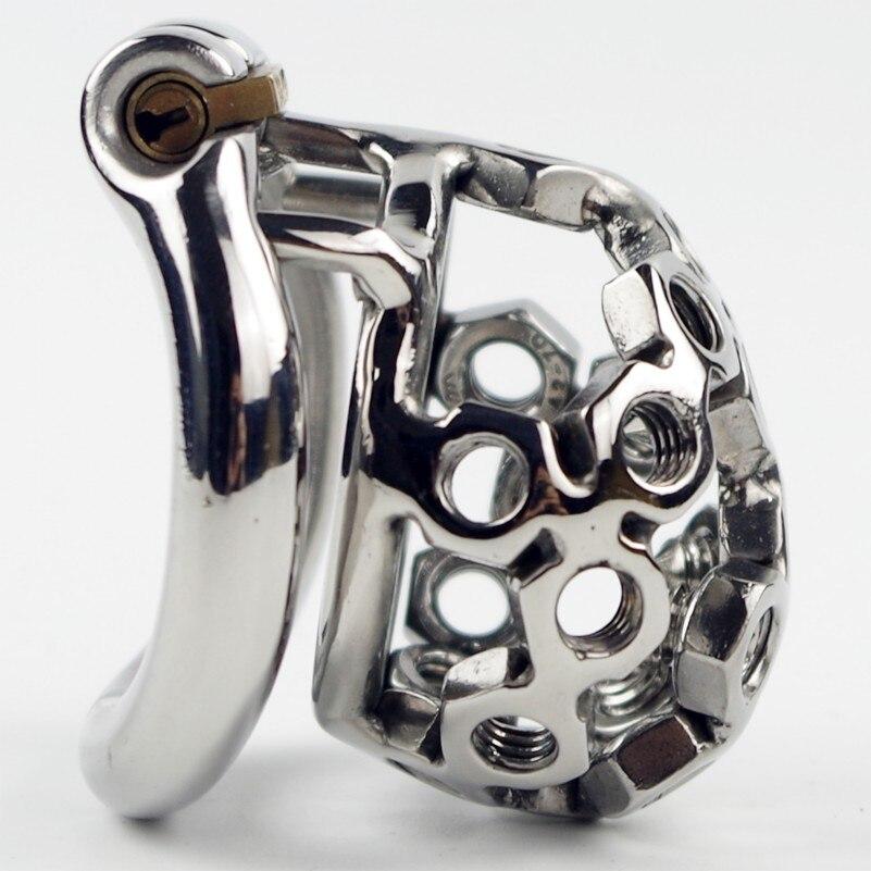 Dispositif de Chasteté en acier Vis De Soudage Style Contient 4 pcs Pointes Esclave Mâle Pénis Bondage Retenue Dispositif Qianchichi