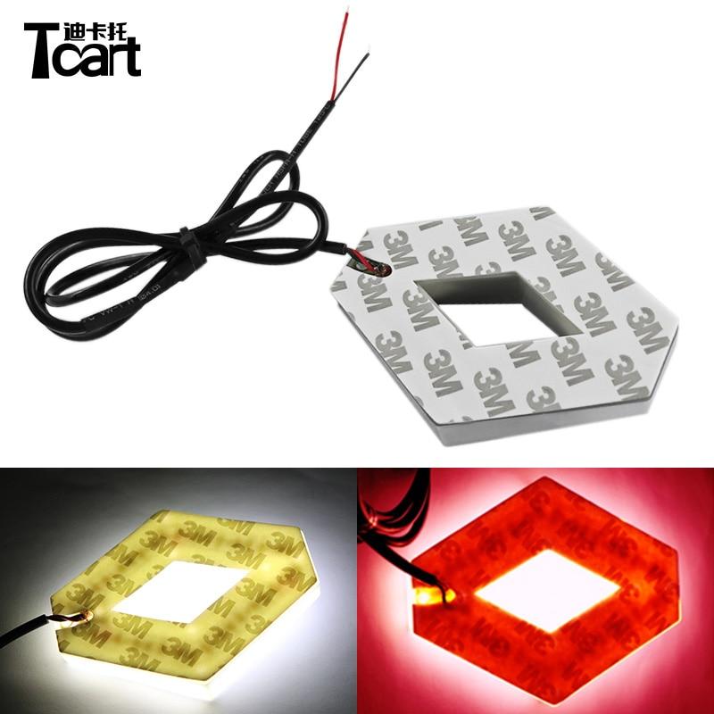 Tcart 9.4*7.55cm Auto Front Emblem Lamps 4D Logo Light Car Led Logo Lights For Koleos For Renault Auto Accessories