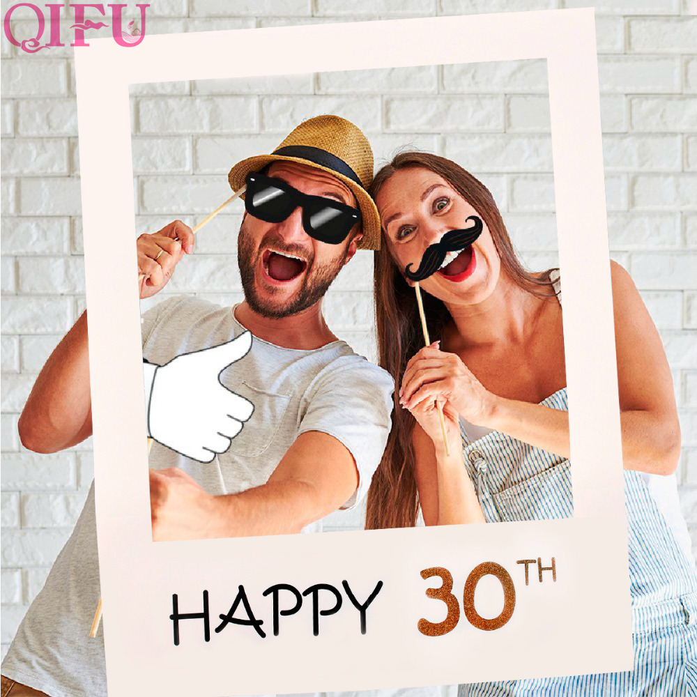 QIFU 16 18 21 Years Photo Booth Frame <font><b>Birthday</b></font> PhotoBooth Props 1st 16th 30th 40th <font><b>50th</b></font> Wedding <font><b>Birthday</b></font> <font><b>Decoration</b></font> Just Married image