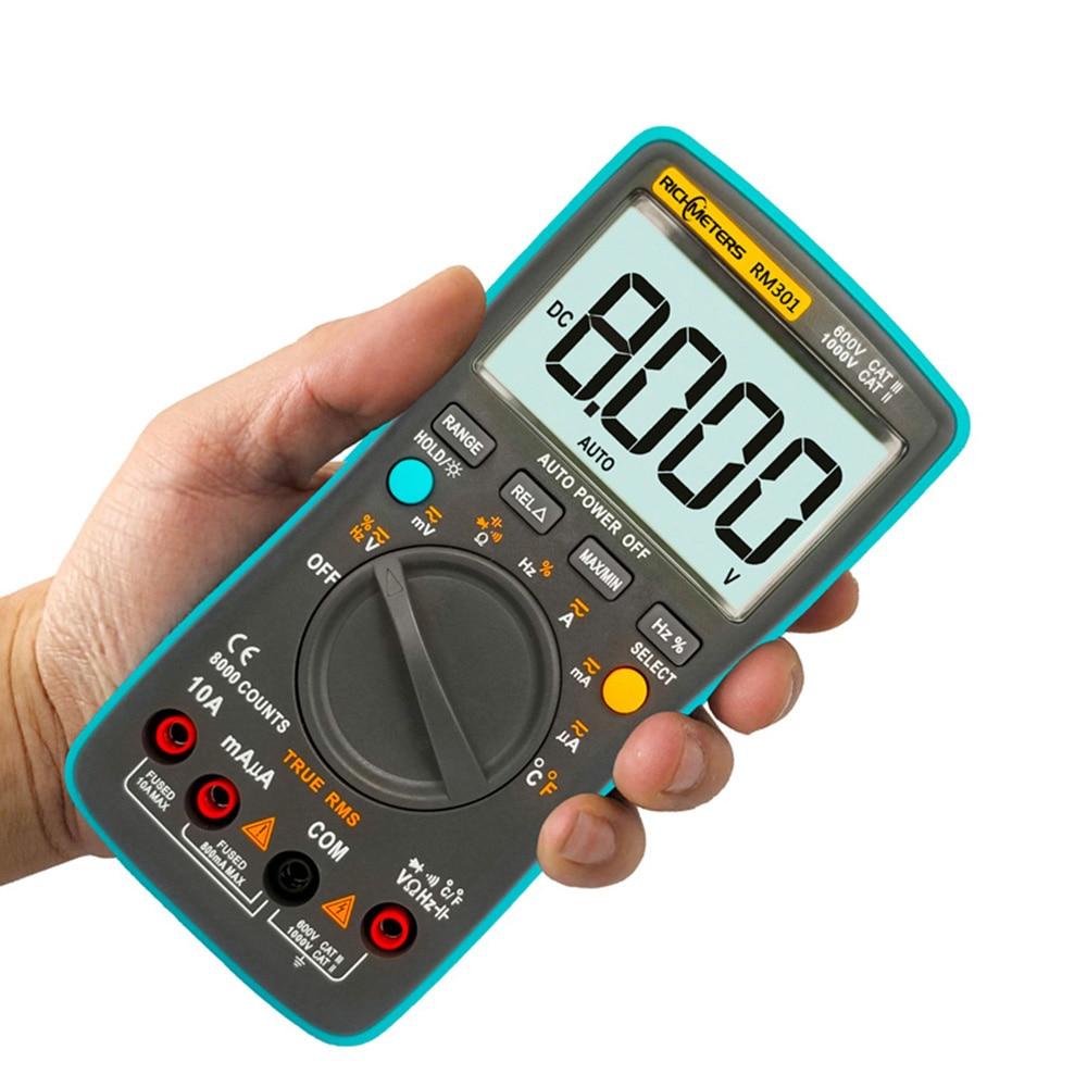 Multimetro digitale 8000 conta RM301 True-RMS AC DC Tensione Amperometro Corrente Temperatura Capacità multimetro Transistor Tester