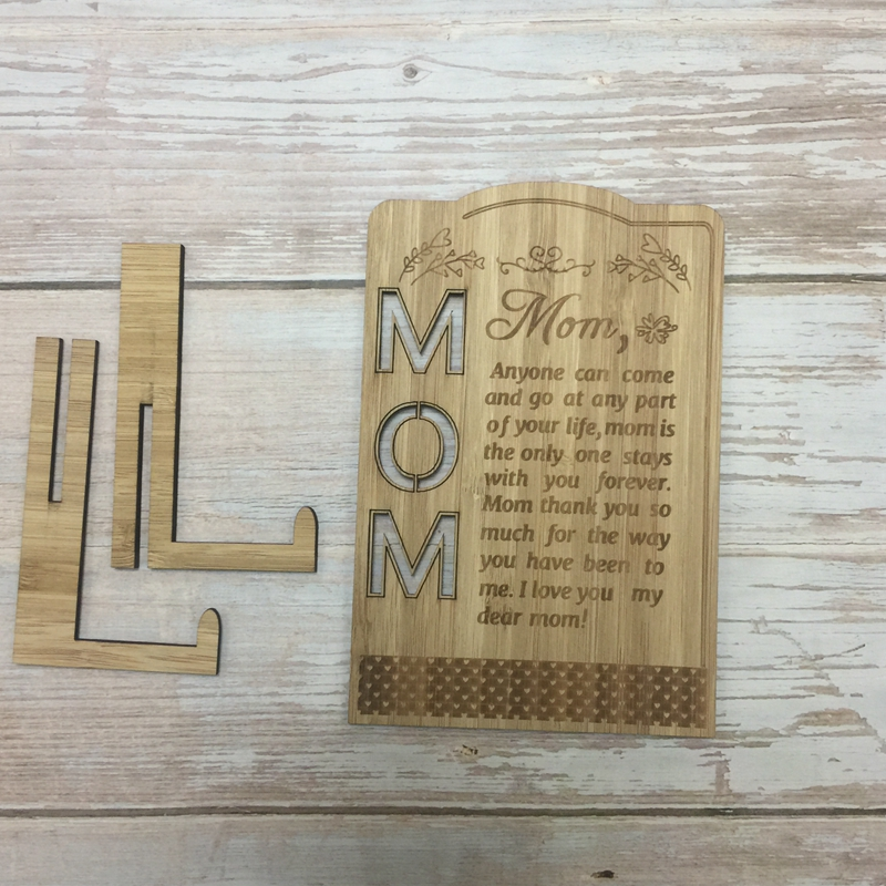 laser cut engraved mother day greeting card bamboo wood greeting card mothers day gift (1)