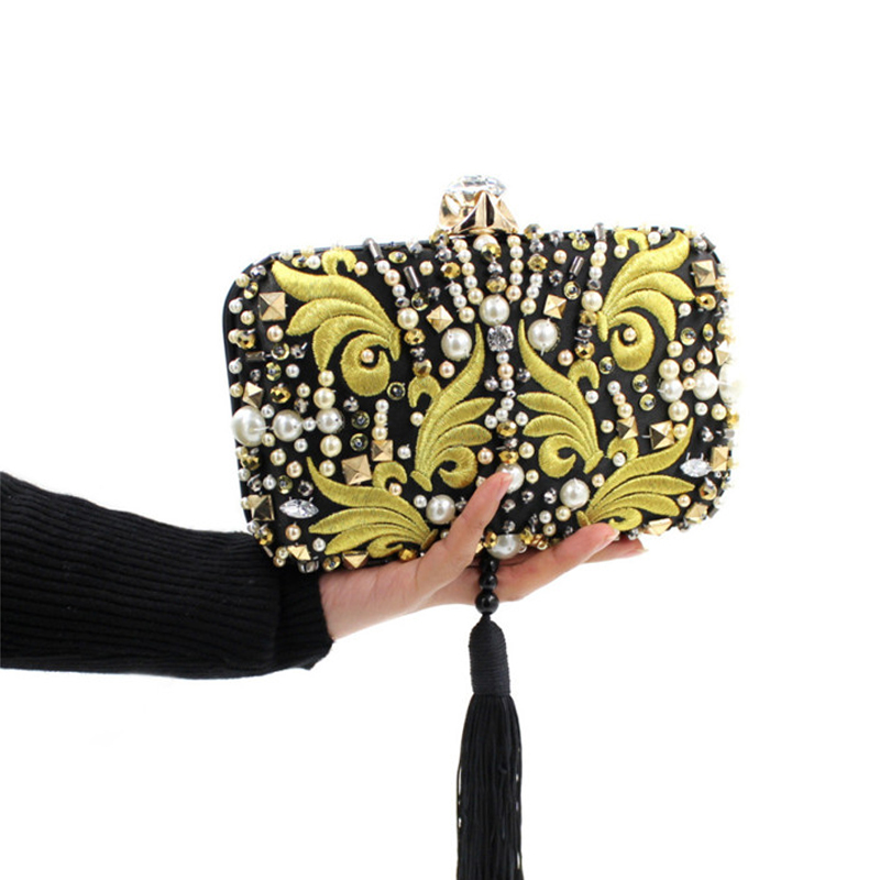 ФОТО Embroidery Matte Stain Evening Bag Tassel Bags Small Handmade Diamond Beard Chinese Style Dragon Phoenix Noble Handbag Clutch