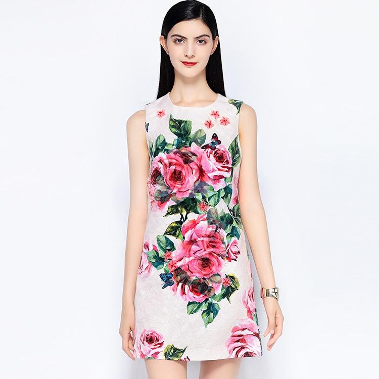 Designer Doux Haute Manches Jacquard Rose Picture Perles As Show Pistes Imprimer Qualité 2018 S542 Nouveau Robe D'été 77qwR5xg