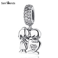 New Authentic 925 Sterling Silver Charm Bead Boy Girl Love Crystal Pendant Fit Original Pandora Bracelets