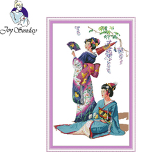 Joy Sunday,Kimono beauty,Cross Stitch Embroidery Set,Printed Embroidery Set,Needlework,Portrait Cross Stitch embroidery patterns joy sunday the tune lingered cross stitch embroidery set printed embroidery set needlework cross stitch embroidery patterns