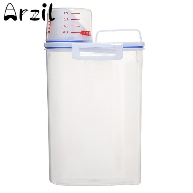 Portable Dry Dried Food Cereal Flour Storage Rice Container Pet Food Storage  Container Dispenser Sealed Box