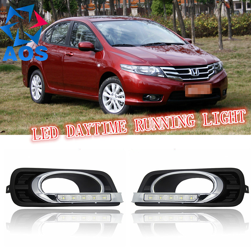 2PCs/set LED DRL Car day light led drl Daytime Running Lights For Honda CITY 2012 2013 2014 with Turn Signal lamp Function автоинструменты new design autocom cdp 2014 2 3in1 led ds150