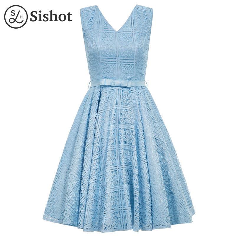 SisHot Vintage Dress 2017 Spring Summer Cotton Blends A Line Round Neck Sleeveless Blue Knee Length