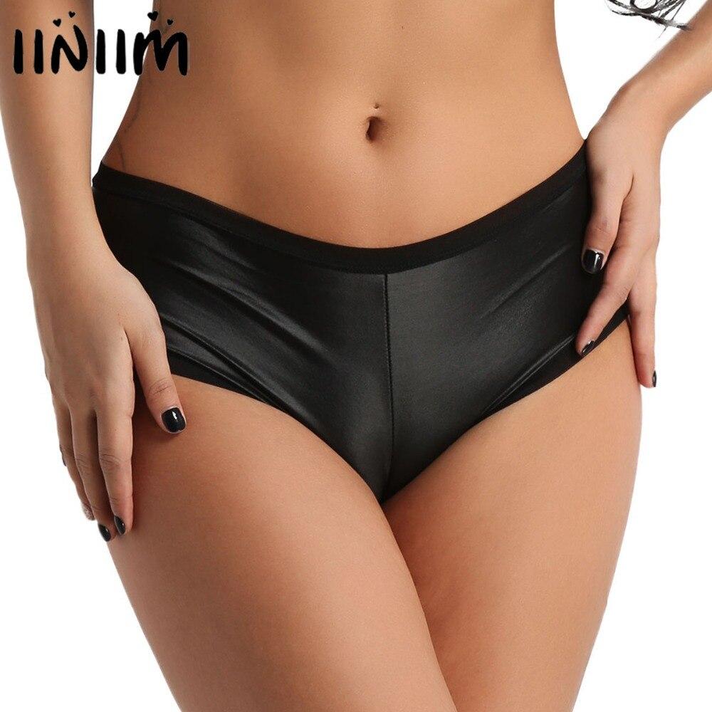 d9ed5c4bf19e Womens Lingerie Panties Wetlook Faux Leather Back Ruffled Stretchy Bikini  Briefs Female Underwear Sexy Night Clubwear