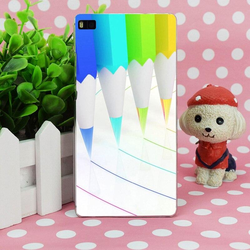 B0728 красочные карандаш Прозрачный Жесткий Тонкий чехол кожного покрова для Huawei P 6 7 8 9 lite плюс Honor 6 7 4c 4x G7