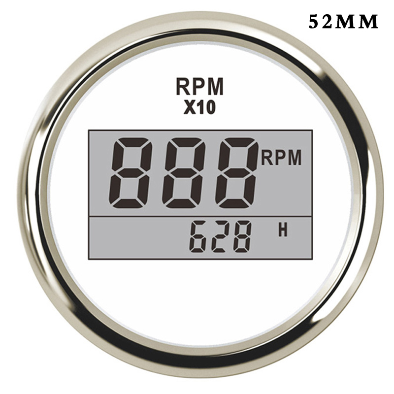 52mm Digital Tachometer Car Truck Marine Boat Tacho Gauge With Hourmeter 0 9990 RPM Display fit for Diesel Gasoline Engine