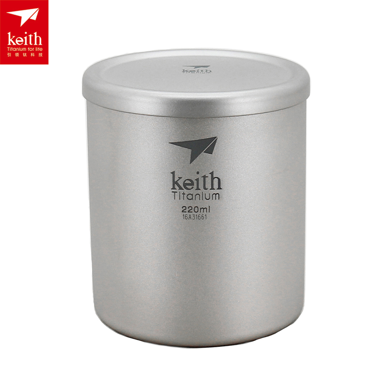 Keith 220ml-600ml Outdoor Titanium Double-wall Mug Ultralight Camping Mug Water Cup With Lid Ti3301 keith ks811 outdoor titanium water mug silver grey